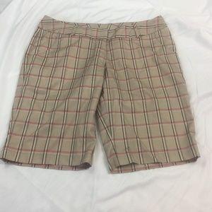 Adidas Beige and Pink Plaid Bermuda Shorts